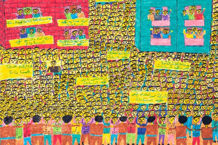 A felt drawing of a parade celebrating a peace treaty.