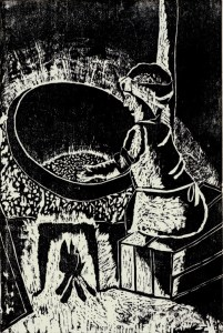 A Woman Roasting Tea Leaves, Kioka Iwata, age 14. Woodcut.