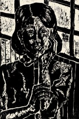 A woodcut print of a thoughtful face.