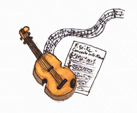Musical Dreams violin and music notes