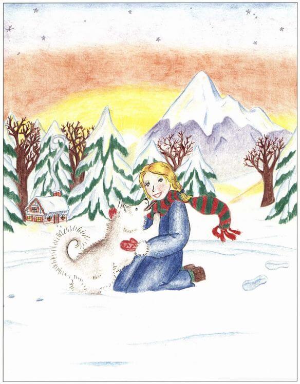 A Christmas Wish petting the dog