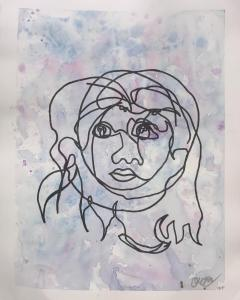 A blind contour drawing of a girl's face over top of a watercolour background.