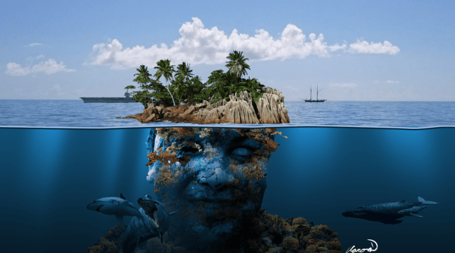 Digital art of island that appears like a human face below the surface of the water.