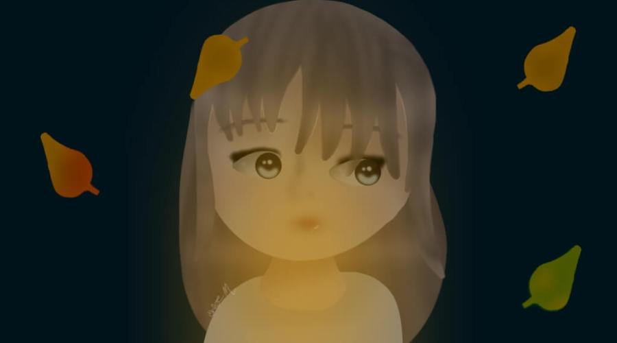 A digital painting of a girl holding a candle, surrounded by autumn leaves.