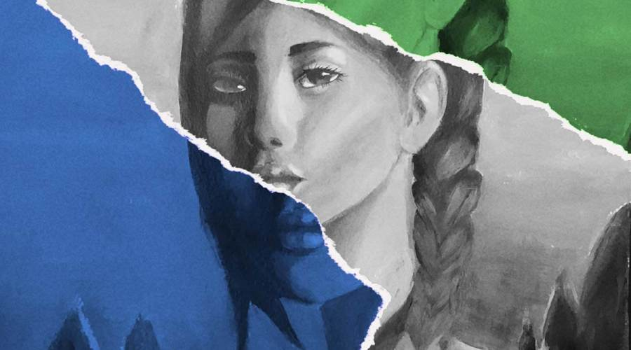 A collage of three acrylic paintings - one blue, one black-and-white, one green- of a girl's face.