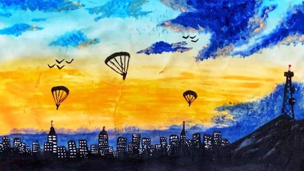 Parachuting in City Lights