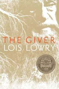 Cover of The Giver by Lois Lowry, showing an old man with the silhouettes of trees and grassland