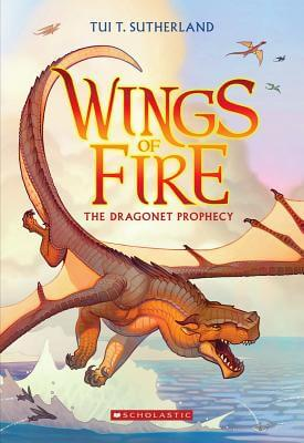 Cover of Wings of Fire: The Dragonet Prophecy by Tui T. Sutherland, showing an orange dragon flying above the ocean