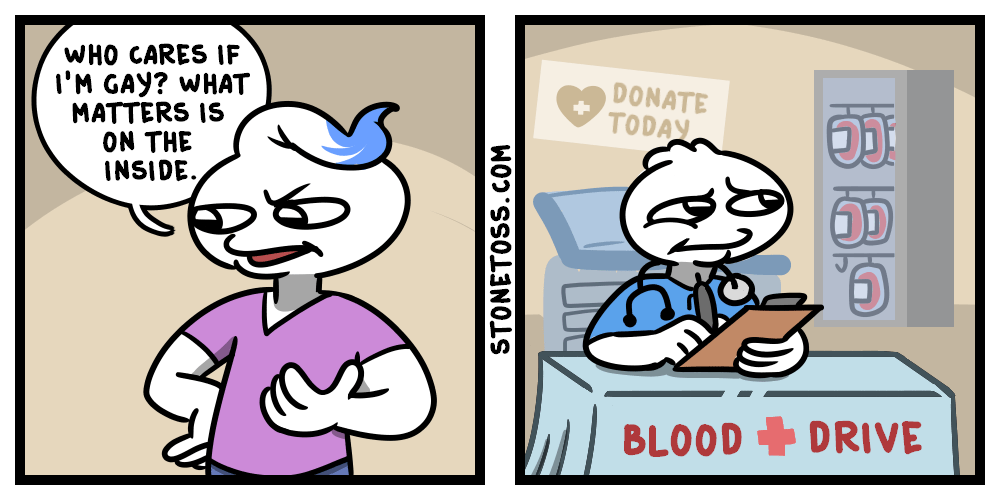 comic about the homosexual ban on blood donation