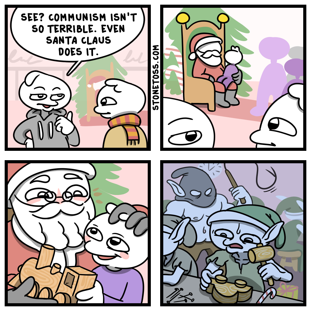 comic comparing communism to christmas