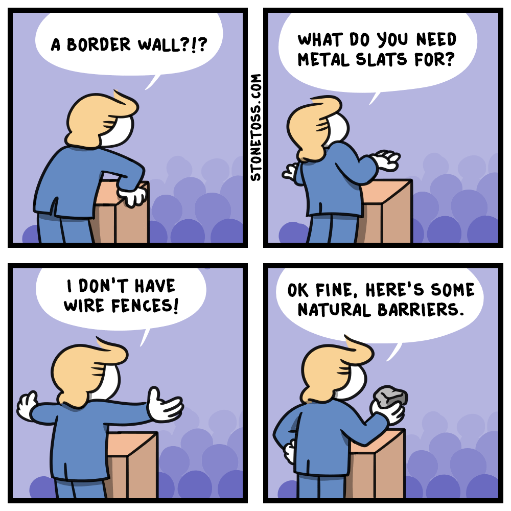 comic about trump cucking on the border wall