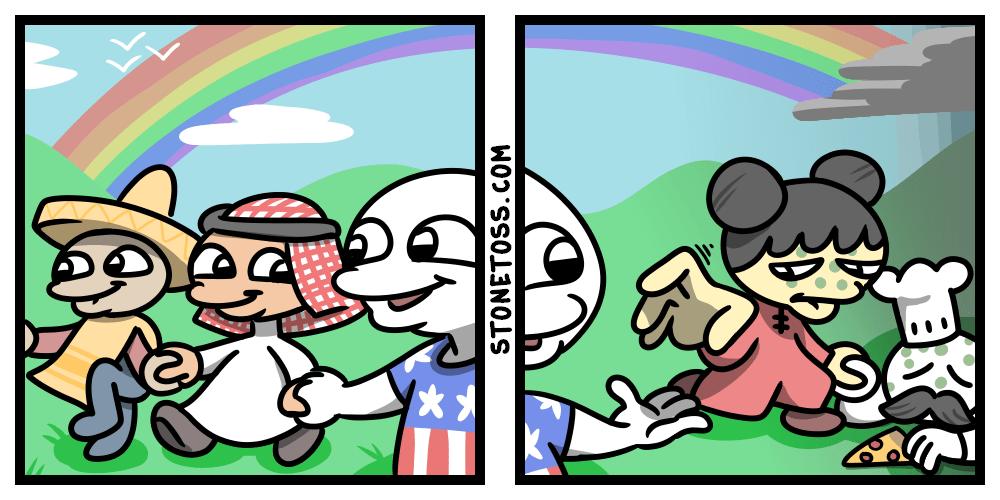 A political cartoon against multiculturalism.