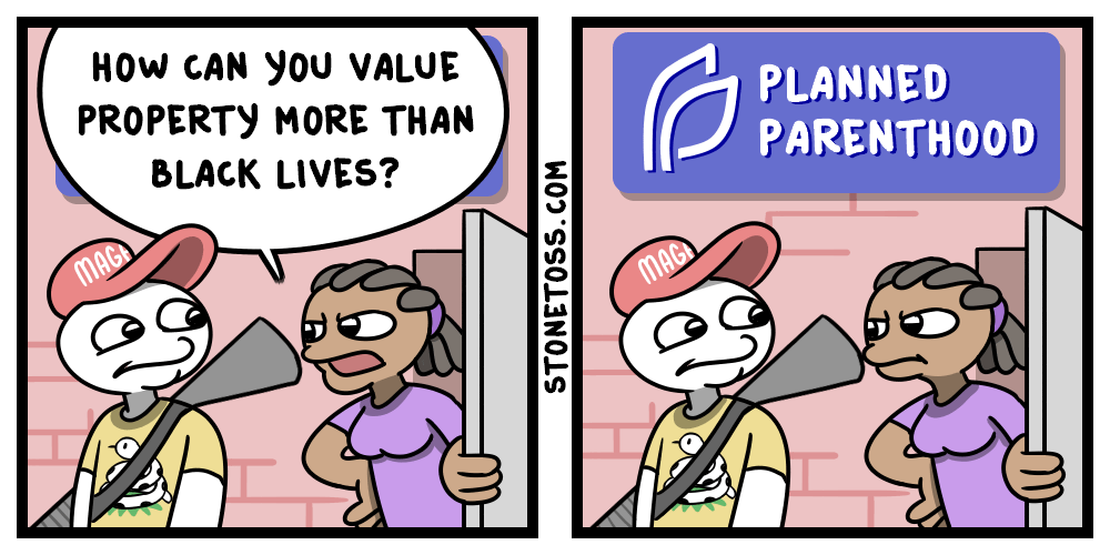 Comic about black lives matter and planned parenthood.