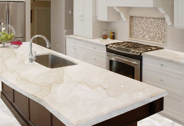 Well cleaned marble countertop