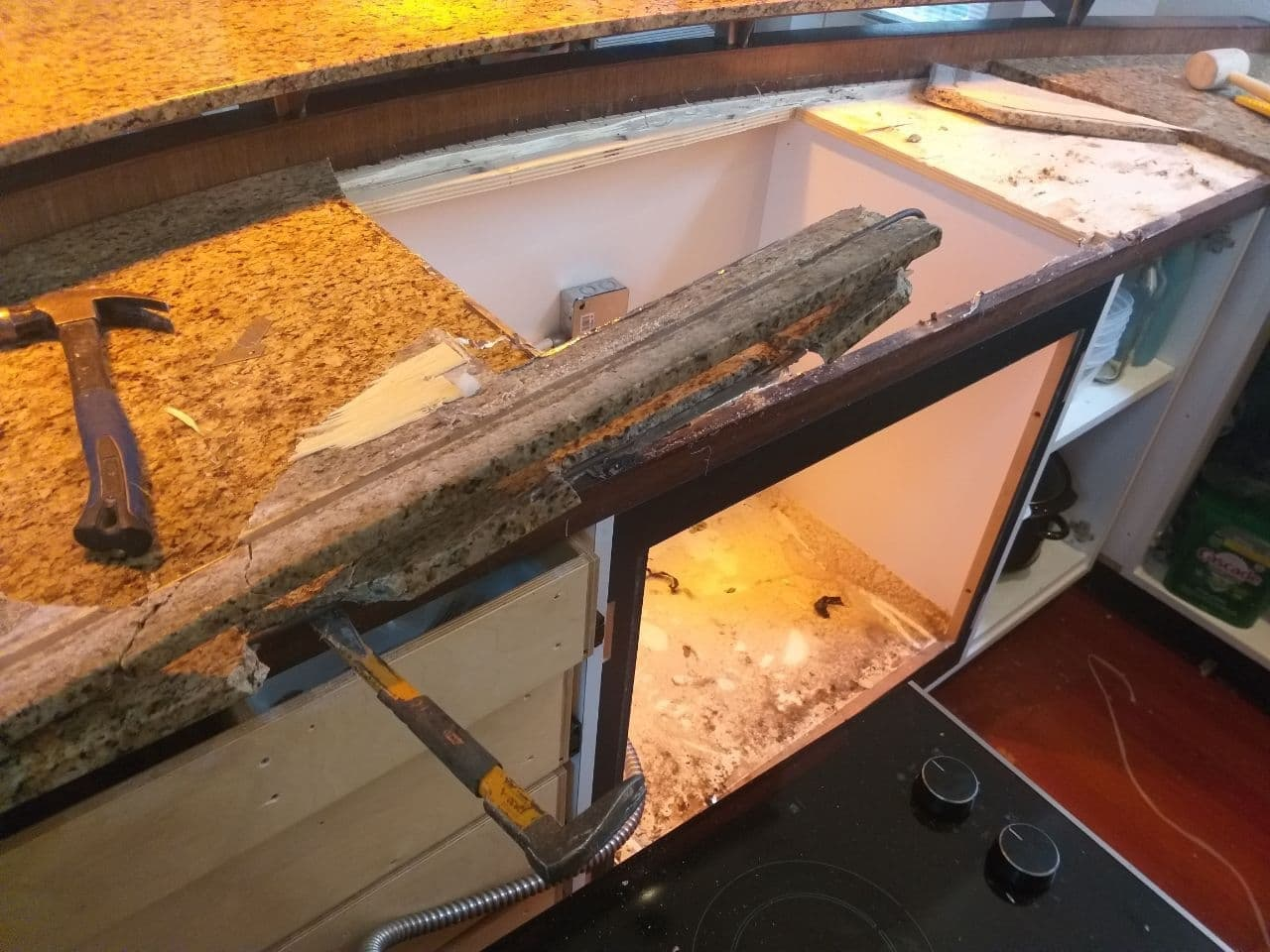 Kitchen granite countertop removal