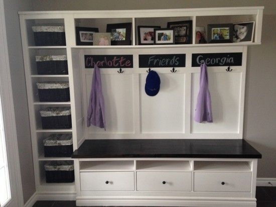 Mudroom with chalkboard names