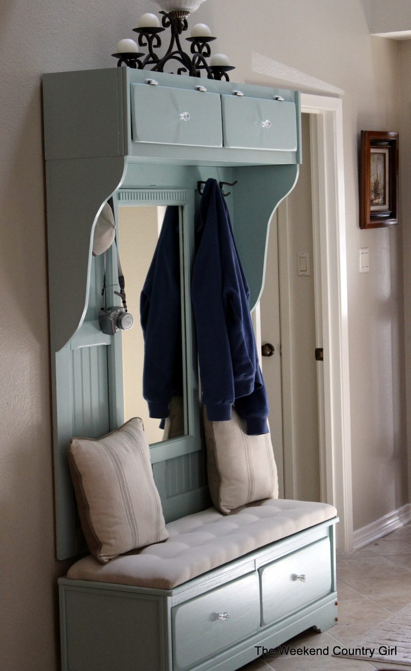 mudroom mirror and bench