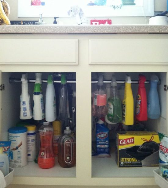 Organize kitchen cleaning supplies