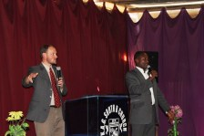 Preaching at Bright Star Academy with Philip translating