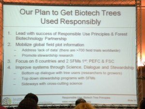 A slide from the presentation of the Institute for Forest Biotechnology in 2013