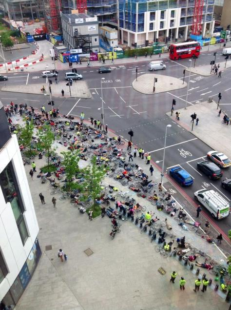 Stop Killing Cyclists hold their third die-in at Elephant & Castle outside the Strata building (photo by Sean O'Sullivan)