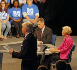 Senator Scott Brown, Elizabeth Warren and debate moderator David Gregory