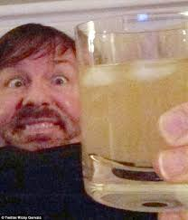 Seen here with a glass of his own urine.