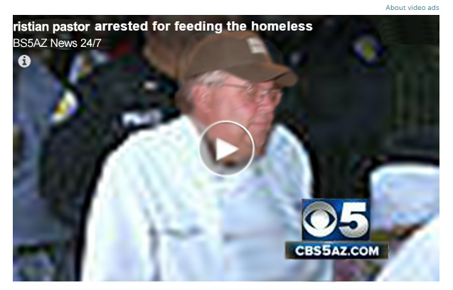 Pastor Lonnie Childs being placed under arrest by Maricopa County Sheriffs for feeding the homeless