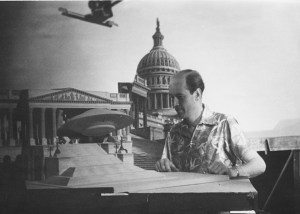 Ray Haurryhausen on the set of Earth Vs the Flying Saucers
