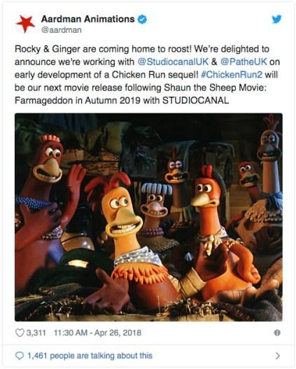 Chicken Run 2 is coming next year!