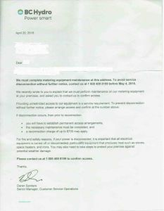 BC Hydro Letter