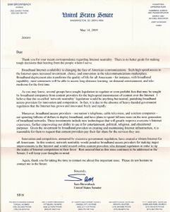 Full text of letter from Sen. Sam Brownback (R-Kansas) (click to enlarge)