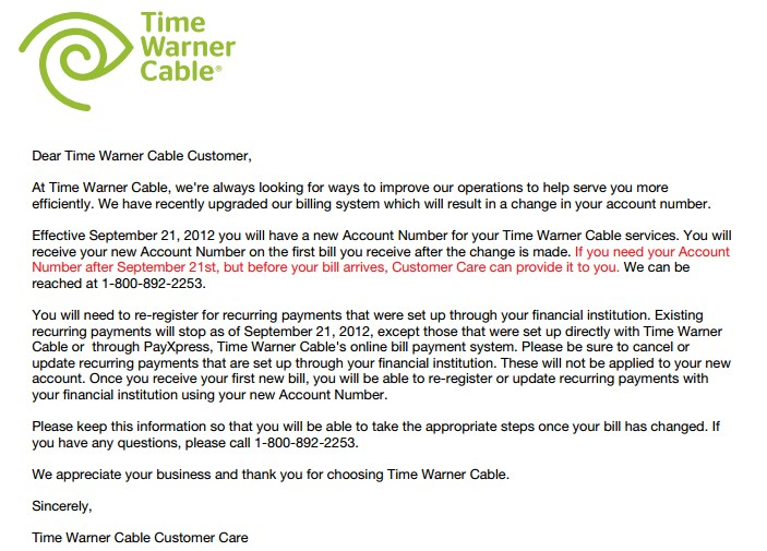 Time Warner Cable Number Payment: Your Time Warner Cable Bill May Be Past Due; New Account Numbers rh:stopthecap.com,Design