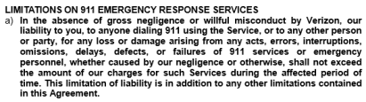 Verizon disclaims legal responsibility for failed 911 calls in its Voice Link terms and conditions.