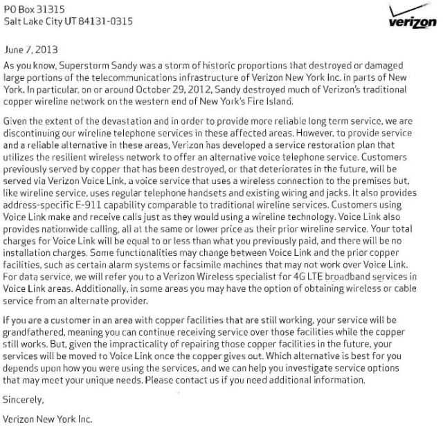 Letter to affected Verizon customers on Fire Island.