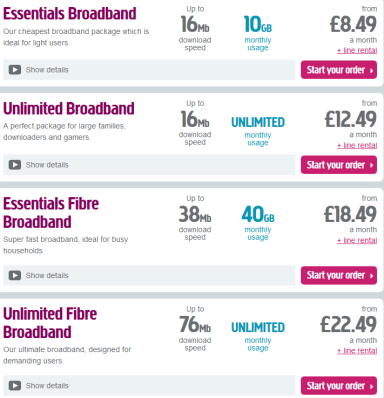 Plusnet offers DSL and fiber broadband plans (in some areas) that offer budget-priced capped or unlimited use plans.