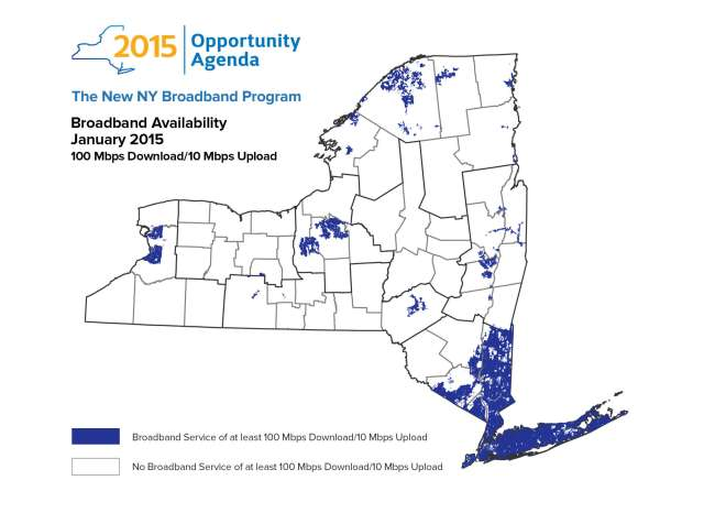 The broadband map from N.Y. State shows 100Mbps service is available to most New Yorkers from Verizon FiOS, Cablevision, and a handful of municipal/co-op operators. Time Warner Cable only provides a maximum of 50Mbps service across upstate New York.