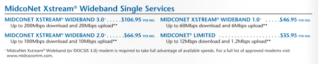 Midcontinent publishes a promotional and retail price list fully disclosing their pricing, a rarity among cable operators. Midco's broadband tiers have no usage caps.
