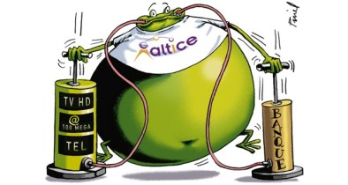 "The French press continues to ridicule Patrick Drahi's debt-laden acquisitions as ""Altice in Wonderland."" (Cartoon: Les Echos)"