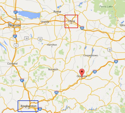 Oneonta, N.Y. is located between Binghamton and Utica.