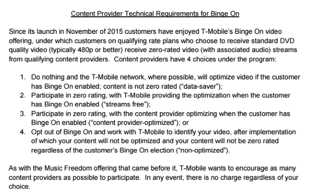T-Mobile makes it easy to be a BingeOn participant.
