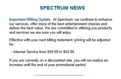 how to announce a price increase to clients charter spectrum raising broadband prices 5 64 99 mo 28941 | spectrum rate hike