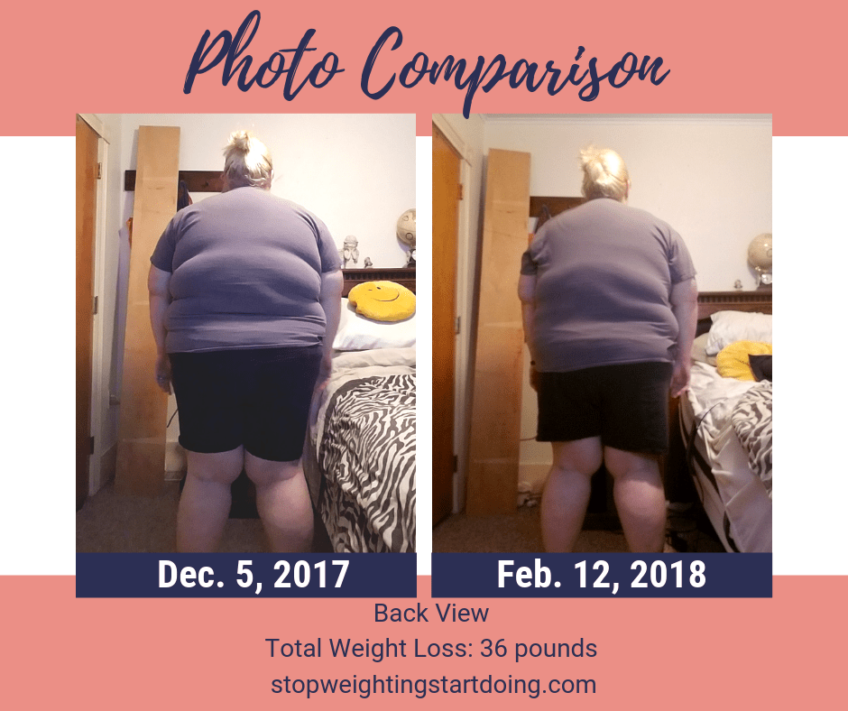 A comparison of my back from losing 36 pounds. A look at my 36-pound weight loss.