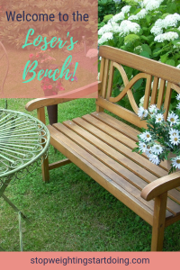 A bench in a garden with flowers and a table. Welcome to the Loser's Bench! Stop Weighting, Start Doing is about helping you with your bariatric surgery.