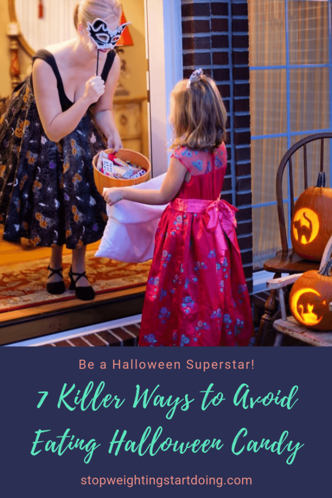 A woman handing out Halloween Candy to a girl. 7 Killer Ways to Avoid Eating Halloween Candy | Be a Halloween Superstar | Pinterest Image