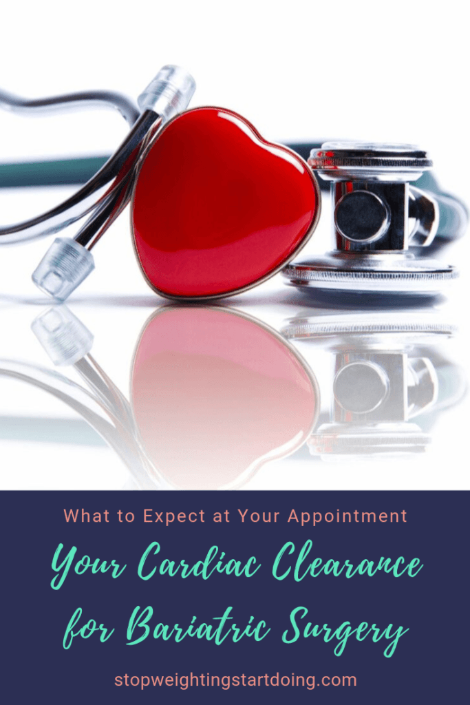 A red heart on a blue stethoscope on a desk. Your Cardiac Clearance for Bariatric Surgery | What to Expect at Your Appointment. | Pinterest Image