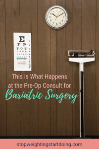 A clock hanging on a wall above an eye exam chart and a scale. This is What Happens at the Pre-Op Consult for Bariatric Surgery + Final Testing | Pinterest Graphic01