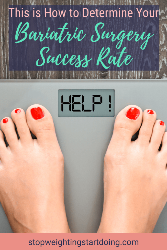 A person standing on a scale with red-painted toe nails and the scale reads HELP! | Pinterest Image | How to Determine Your Bariatric Surgery Success Rate: 6 Tips to Follow | Gastric Sleeve Success Rate, Bariatric Surgery Success