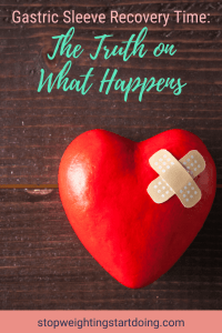 A red heart-shaped stress ball with a bandage on the corner on a brown background. | Gastric Sleeve Recovery Time: The Truth on What Happens | Pinterest Graphic | gastric sleeve recovery stories, gastric sleeve diet