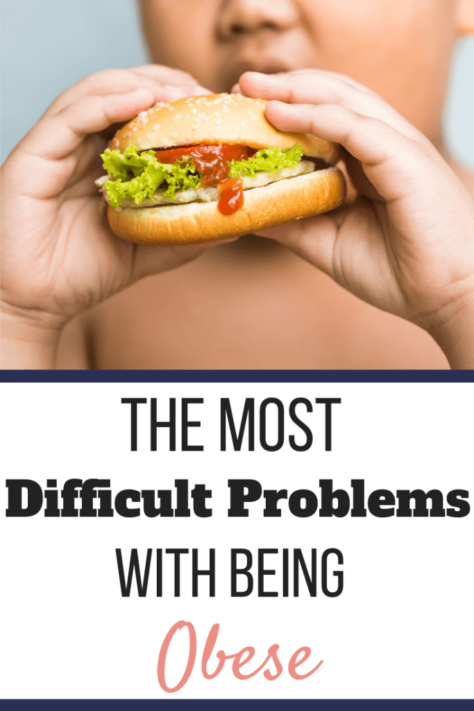 An overweight child eating a cheeseburger. | The Most Difficult Problems with Being Obese | A Possible Solution to Fix it | Graphic | problems with obesity, health problems with being overweight, being overweight